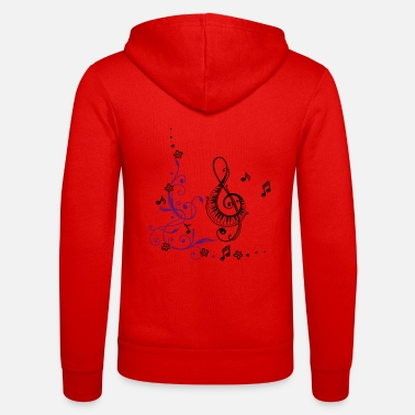 Music Clef with music notes and floral elements - Unisex Zip Hoodie