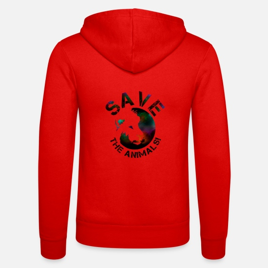 Animals Hoodies & Sweatshirts - SAVE THE ANIMALS! COLLECTION BY Mikka_ufficiale - Unisex Zip Hoodie classic red