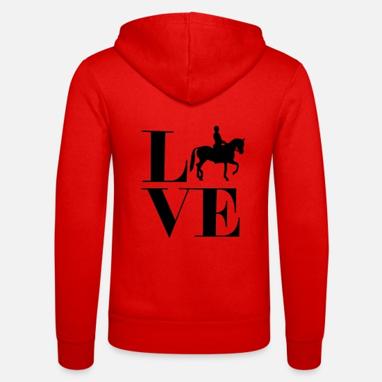 Love Hoodies & Sweatshirts - Love riding horses Spreing riding Western riding - Unisex Zip Hoodie classic red