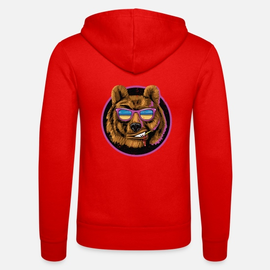 Sunglasses Hoodies & Sweatshirts - Bear, cool - Unisex Zip Hoodie classic red