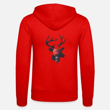 Funges Deer and Red Mushroom - Unisex Zip Hoodie