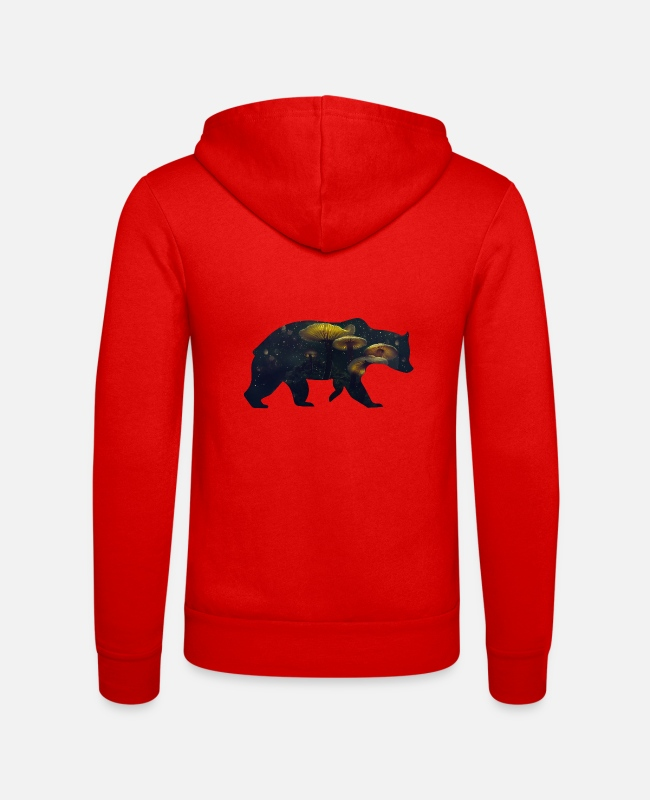 Nature Hoodies & Sweatshirts - Bear and Mushroom - Unisex Zip Hoodie classic red