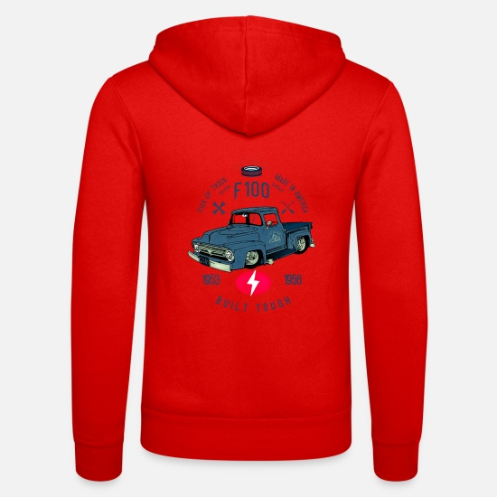 Bikes And Cars Collection V2 Hoodies & Sweatshirts - F100 Built Tough - Unisex Zip Hoodie classic red