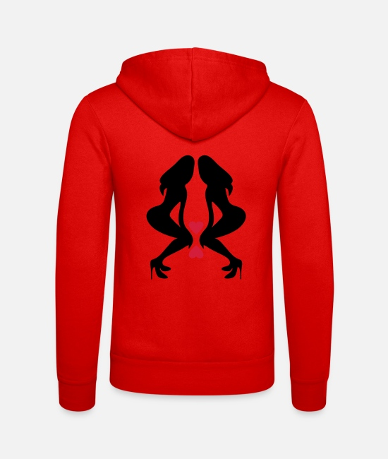 Shilhouette Of Irresistibly Sexy Curvy Pole Dancer Girls With Sexy Tight Rounded Ass Vector Design Hoodies & Sweatshirts - ۞»♥Sexy Twin women on Killer Stilettos♥«۞ - Unisex Zip Hoodie classic red