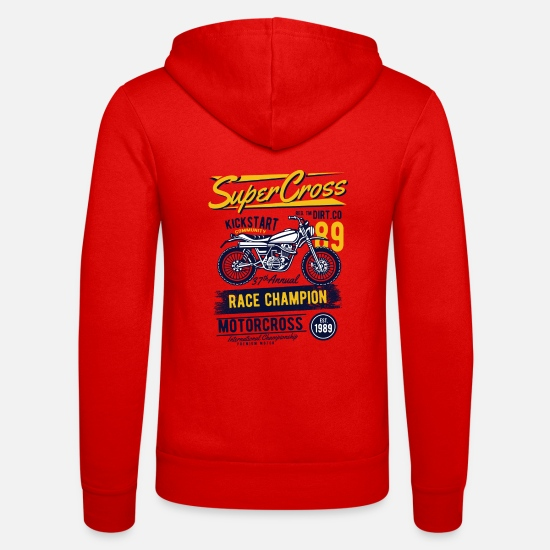 Motorcycle Hoodies & Sweatshirts - Super Motocross - Unisex Zip Hoodie classic red