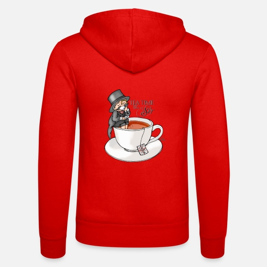 Spreadshirtlikes Sweat-shirts - tea time like a Sir with Earl Grey (text) - Veste à capuche unisexe rouge classique