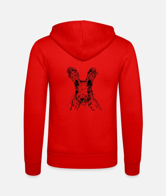 Nature Hoodies & Sweatshirts - squirrel drawing - Unisex Zip Hoodie classic red
