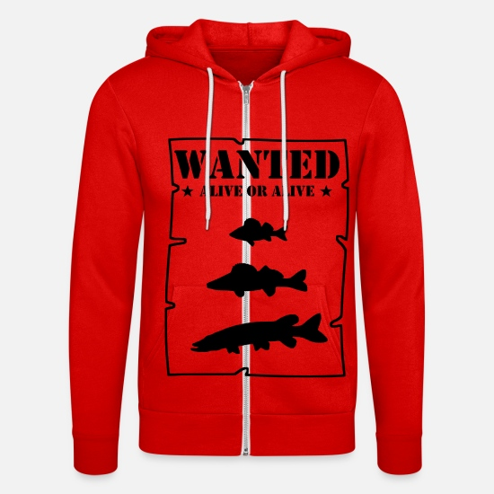 Carnivores Hoodies & Sweatshirts - Wanted alive or alive - Unisex Zip Hoodie classic red