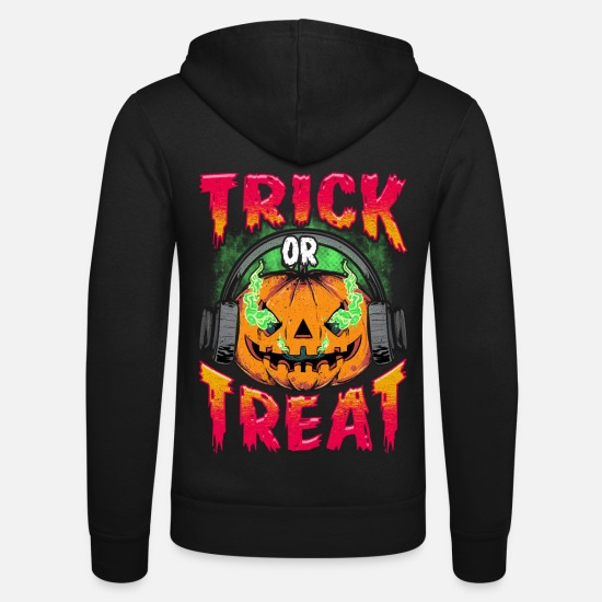 Comic Hoodies & Sweatshirts - Evil Pumpkin with Trick or Treat headphones - Unisex Zip Hoodie black