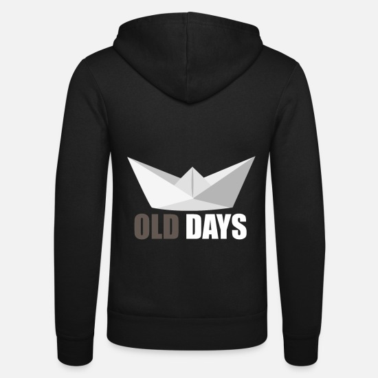 Birthday Hoodies & Sweatshirts - Paper ship gift paper boat - Unisex Zip Hoodie black