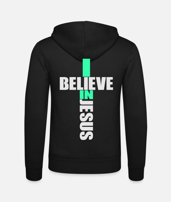 Church Hoodies & Sweatshirts - I Believe In Jesus - Religion Cross Christianity - Unisex Zip Hoodie black