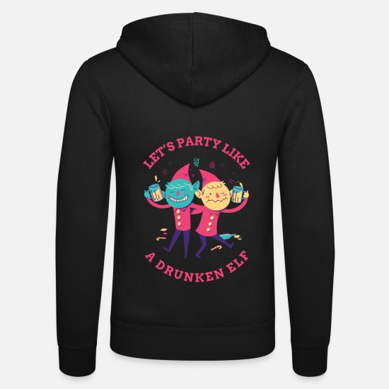 Birthday Hoodies & Sweatshirts - Let's party elves party shirt gift - Unisex Zip Hoodie black