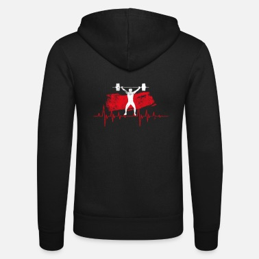 Power Lifting Weight Lifting Powerlift Heartbeat Pulse Muscle Force - Unisex Zip Hoodie