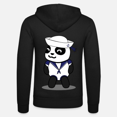 Panda bear sailor with sailors hat - Unisex Zip Hoodie