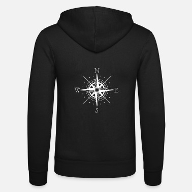 Direction Compass with directions - Unisex Zip Hoodie