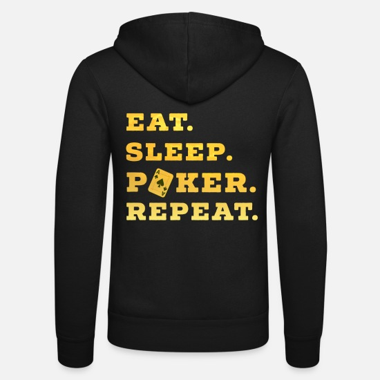 Ass Hoodies & Sweatshirts - Eat Sleep Poker Repeat Casino Pik Texas pokergame - Unisex Zip Hoodie black
