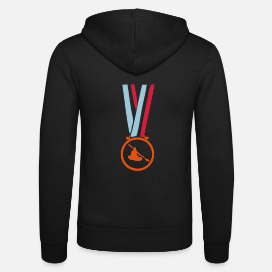 Kayak Hoodies & Sweatshirts - canoe champion medal Court1 - Unisex Zip Hoodie black