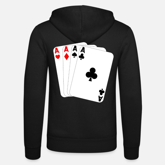 Ace Hoodies & Sweatshirts - Four ace pik cross diamonds heart playing cards - Unisex Zip Hoodie black