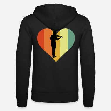 Fiddlestick Retro Violin Heart Design - Unisex Zip Hoodie
