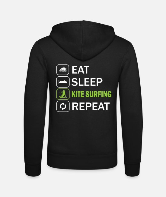 Surf Hoodies & Sweatshirts - Eat Sleep Kitesurf Repeat - Unisex Zip Hoodie black