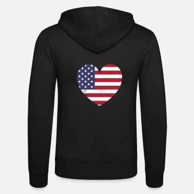 Independence America heart love USA flag gift - Unisex Zip Hoodie