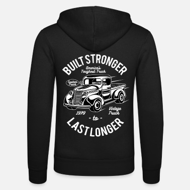 Hot Rod TOUGHEST TRUCK - Retro Truck Shirt Design - Unisex Hooded Jacket by Bella + Canvas