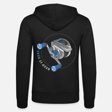 Angler Fishing reel with line - Unisex Zip Hoodie