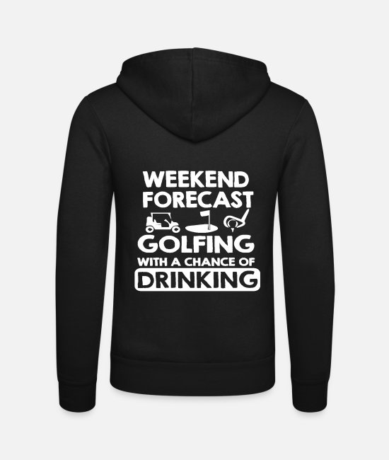 Christmas Hoodies & Sweatshirts - Weekend forecast golfing - Unisex Zip Hoodie black