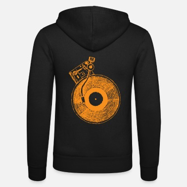 Vinyl turntable music gift for DJ - Unisex Zip Hoodie