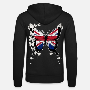 Union Jack Butterfly Union Jack - Unisex Hooded Jacket by Bella + Canvas