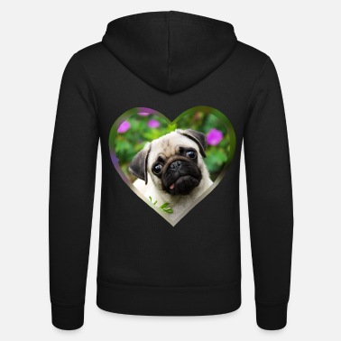 Funny pug puppy dog photo portrait with heart - Unisex Zip Hoodie