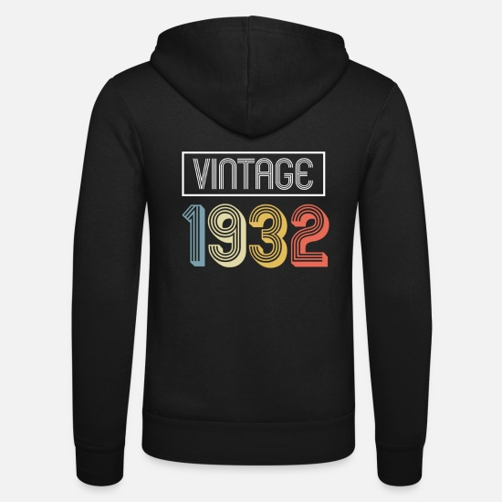 1932 Hoodies & Sweatshirts - Vintage 1932 Birthday Gift design - Unisex Zip Hoodie black