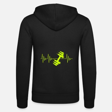 Gym Dumbbell in yellow heartbeat - Unisex Zip Hoodie