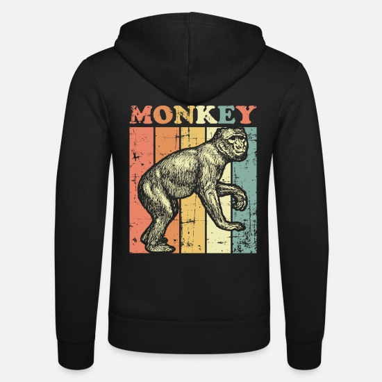 Monkeys Hoodies & Sweatshirts - Monkey chimpanzee - Unisex Zip Hoodie black