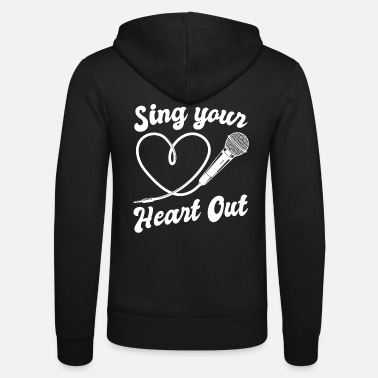 I Heart Karaoke Sing Your Heart Out I Microphone Singing Karaoke - Unisex Zip Hoodie