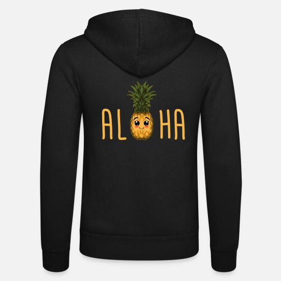 Birthday Hoodies & Sweatshirts - Pineapple Hawaiian Honolulu Kawaii - Unisex Zip Hoodie black