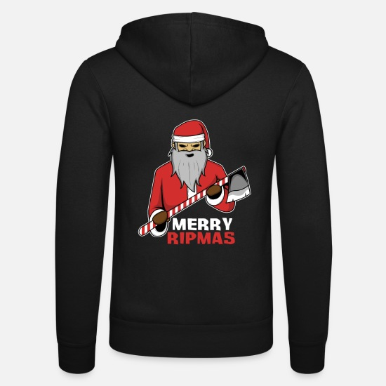 Candy Cane Hoodies & Sweatshirts - Bad Santa Christmas Marry RIPmas - Unisex Zip Hoodie black