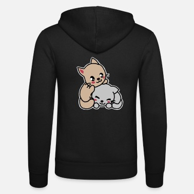 Two cute cats, kawaii, cartoon - Unisex Hooded Jacket by Bella + Canvas