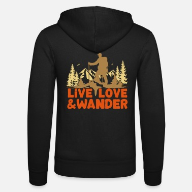 Nordic Live Love and Wander for hikers, Nordic Walkers - Unisex Hooded Jacket by Bella + Canvas