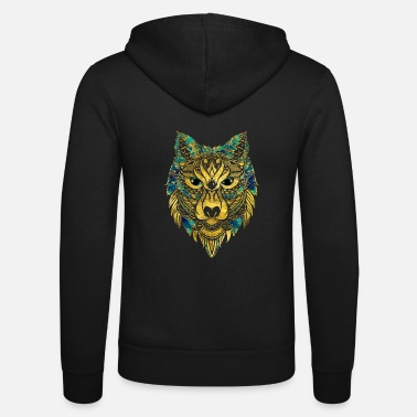 Tribal Wolf - Gold and Marble Decorated - Unisex Zip Hoodie