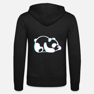 Anaglyph Lazy Panda Cute 3D Anaglyph Retro Vintage - Unisex Zip Hoodie