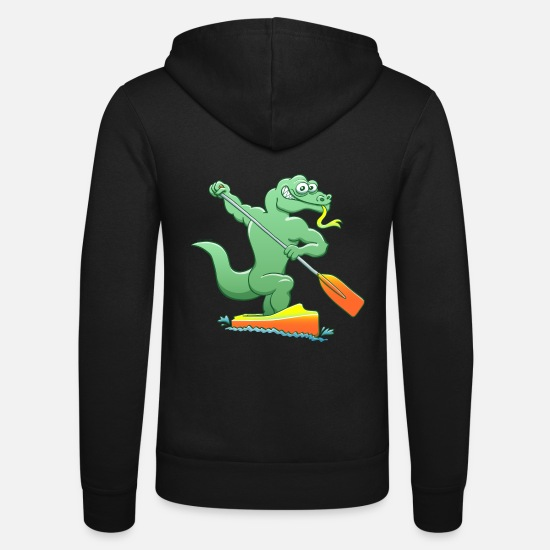 Forked Tongue Hoodies & Sweatshirts - Water Monitor Competing in a Canoe Sprint Event - Unisex Zip Hoodie black