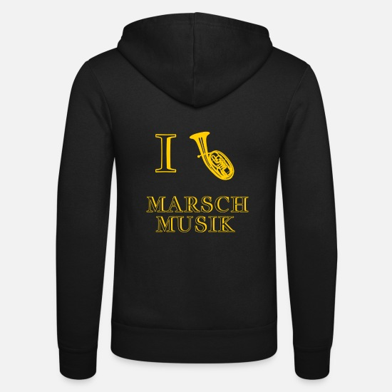 Love Hoodies & Sweatshirts - I love I Love marching music tenor horn brass music - Unisex Zip Hoodie black