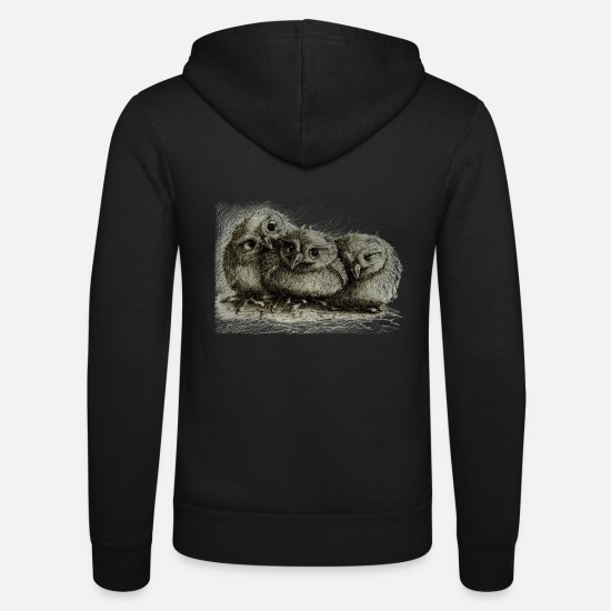 Ironie Sweaters & hoodies - three young owls - Unisex zip hoodie zwart