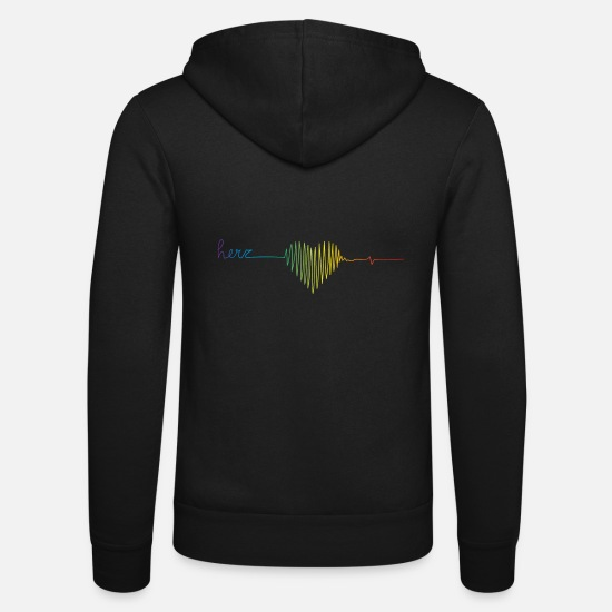 Symbol  Hoodies & Sweatshirts - Rainbow colors heart rate - Unisex Zip Hoodie black