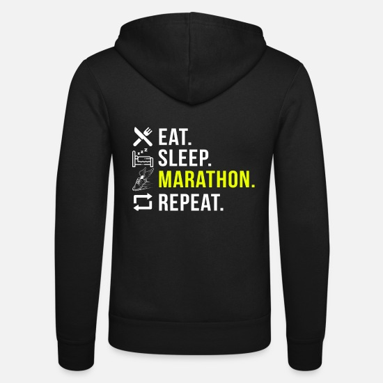 Repeat Hoodies & Sweatshirts - Eat Sleep Marathon Repeat - Unisex Zip Hoodie black