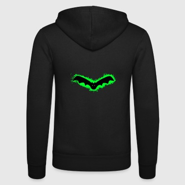Bat Vampire Green and Black Outline - Unisex Hooded Jacket by Bella + Canvas