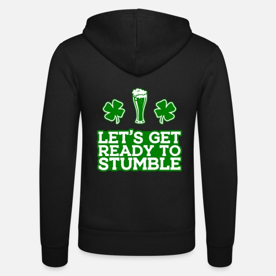 Alcohol Hoodies & Sweatshirts - St. Patrick's Day Drink Alcohol Beer Ireland - Unisex Zip Hoodie black