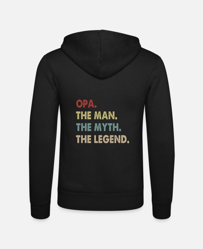 Mythe Sweaters & hoodies - Opa The Man The Myth The Legend Grandad - Unisex zip hoodie zwart