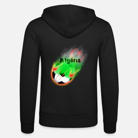 Soccer Hoodies & Sweatshirts - Algeria Football - Unisex Zip Hoodie black